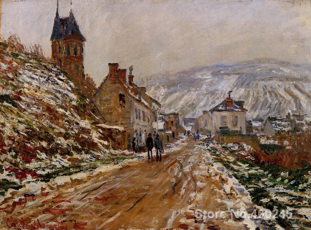 Gift custom Landscape Painting The Road in Vetheuil in Winter by Claude Monet High Quality Hand paintedGift custom Landscape Painting The Road in Vetheuil in Winter by Claude Monet High Quality Hand painted