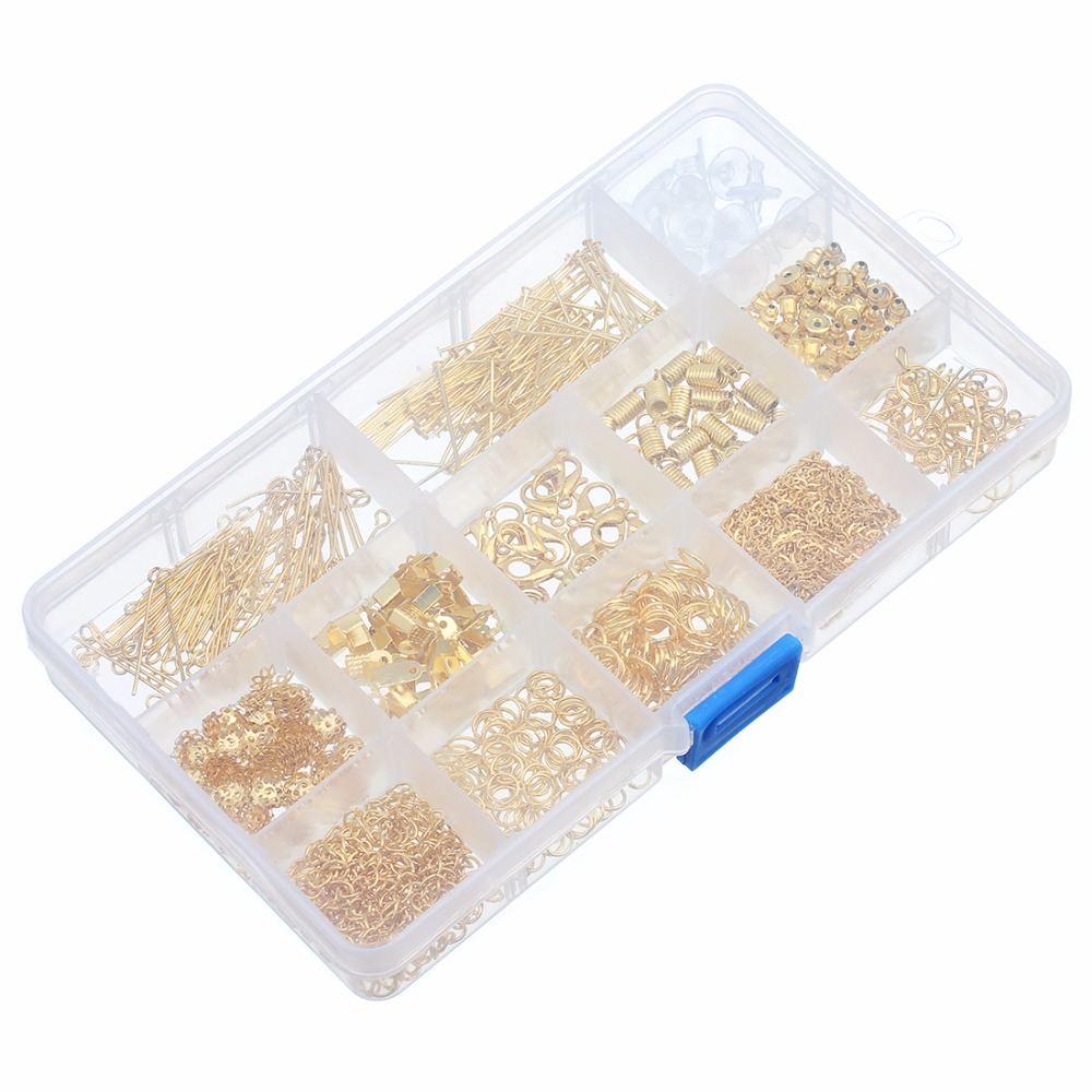 LOULEUR 1Box 1Set Gold Color Bead Caps Jump Rings Head Pins Ear Lobster Claps Chain Pins For Diy Jewelry Making Findings Kit in Jewelry Findings Components from Jewelry Accessories
