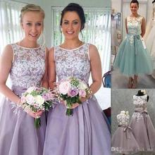Lace Maid Of Honor Bridesmaid Dresses A Line Tea Length Wedding Guest Dresses With Sash Organza Formal Party Gowns BD148