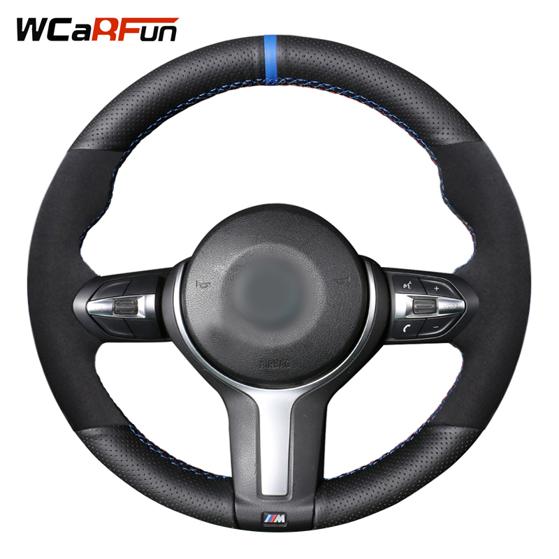 Black Genuine Leather Black Suede Steering Wheel Cover for BMW M4 M5 M6 F87 M2 F80