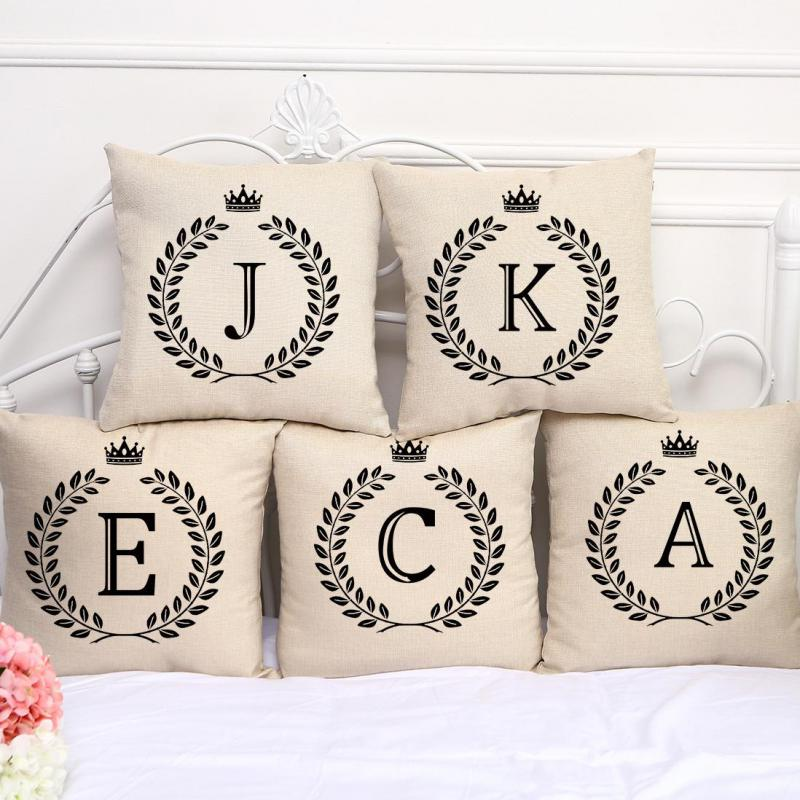 Factory Wholesale Customized English Letter Stamp Cotton Linen Decorative Pillow Sofa Car Seat Cushion For Children Gift