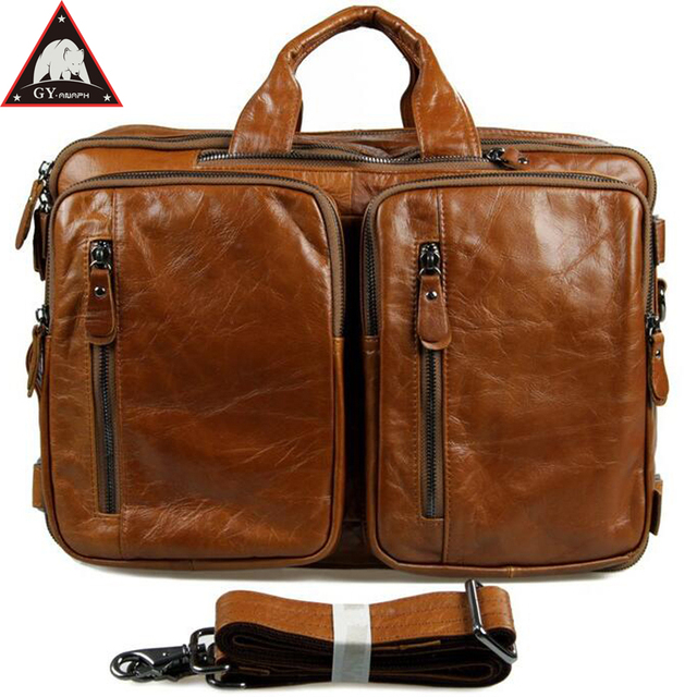 Anaph Carry On Luggage Cow Leather Laptop Travel Bag For Men Multi Function Overnight Weekender