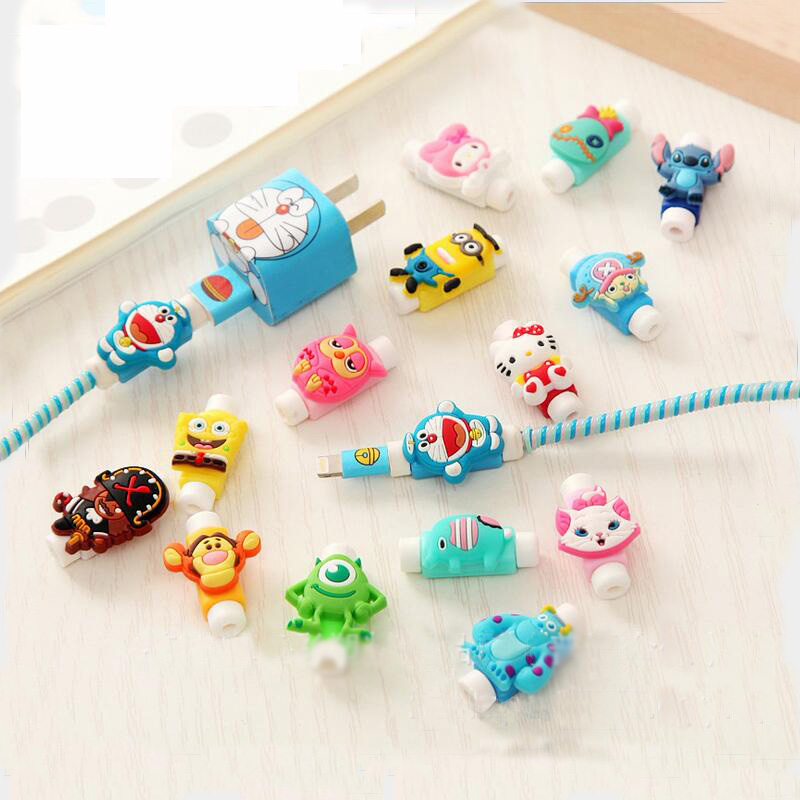 Cute Cartoon Cable Protector Data Line Cord Protector Protective Case Cable Winder Cover For iPhone USB Charging Cable 41 Styles купить недорого в Москве
