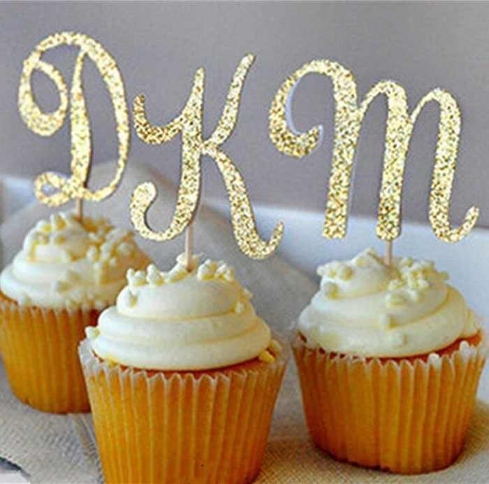 كعكة القبعات العالية ورقة راية بريق رسالة A-Z رأس المال ل مغلفة كب كيك فناجين الخبز حفلة عيد ميلاد الشاي الديكور استحمام الطفل Wh