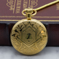 Best Selling Automatic Mechanical Pocket Watches Full Golden Men Women with Fob Chain Clock Classy Pocket Watch PJX1318