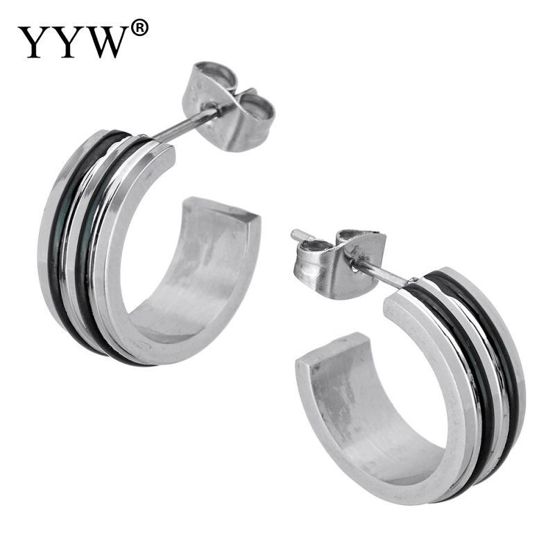 YYW New Punk Women Men Black Strip Enamel Stainless Steel Stud Earrings Cuff Open C Shape Charm Steel Stud Earrings Jewelry