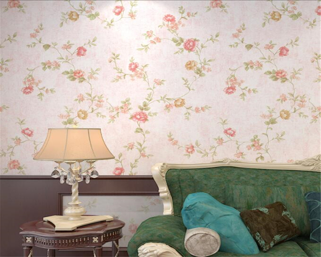 Pink Light Green Modern Wallpaper Retro Floral Living Room