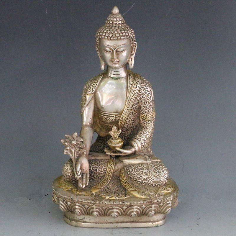 7.88 inch / Vintage Tibet Silver copper Tibetan Buddhism Shakya Mani Statue metal handicraft7.88 inch / Vintage Tibet Silver copper Tibetan Buddhism Shakya Mani Statue metal handicraft