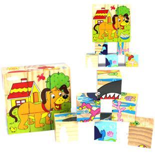 Деревянные детские развивающие Игрушечные лошадки трехмерная головоломка шесть сторон нарисовать мультфильм Дизайн