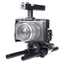 DSLR 15 мм Род Рог Обрабатывать Видео Кейдж Камеры Steadicam Стабилизатор для Sony A6000/A6300/A6500 камеры аксессуары