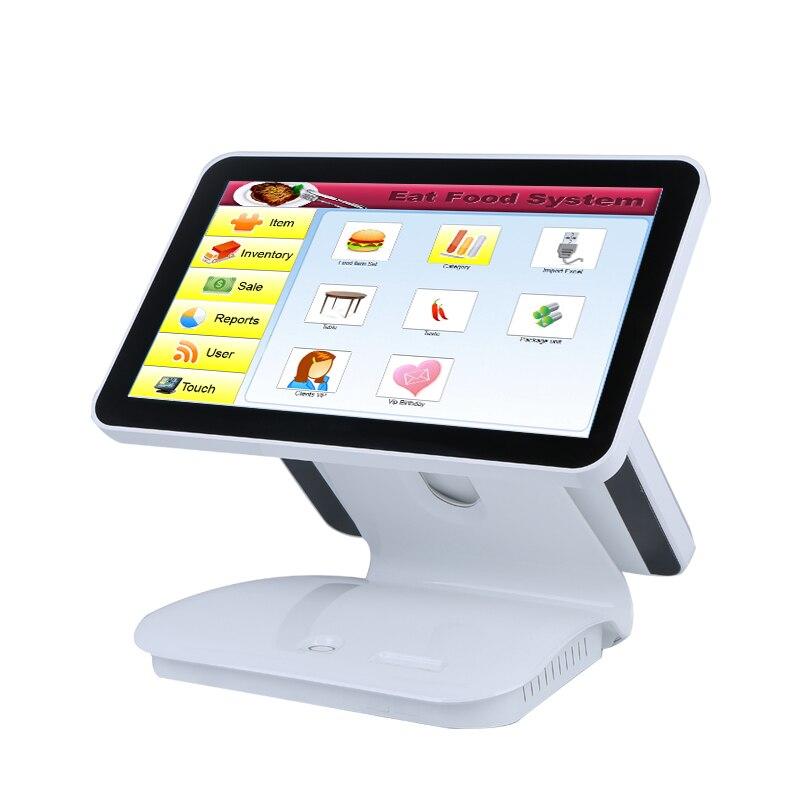 Double écran POS machine tout en un pos système windows os pos terminal pour la vente au détail/restaurant/supermarché pos caissier