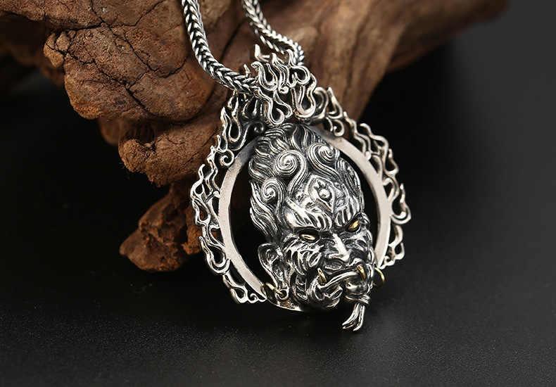 100% 925 srebrny Acalanatha wisiorek budda naszyjnik 925 Sterling Man naszyjnik powodzenia wisiorek dla koguta lat ludzi