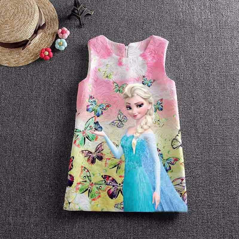Disney Frozen Anna Elsa Dresses for Girls Snow Queen Elsa Dress Vestidos Butterfly Flower Dress Kids Elza Costume Clothes