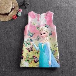 Disney Frozen Anna Elsa Dresses for Girls Snow Queen Elsa Dress Vestidos Butterfly Flower Dress Kids Elza Costume Clothes