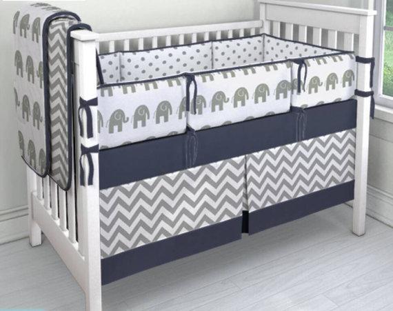 7 Pieces Set Crib Bedding Baby Sweet Navy Grey Chevron Nursery Per