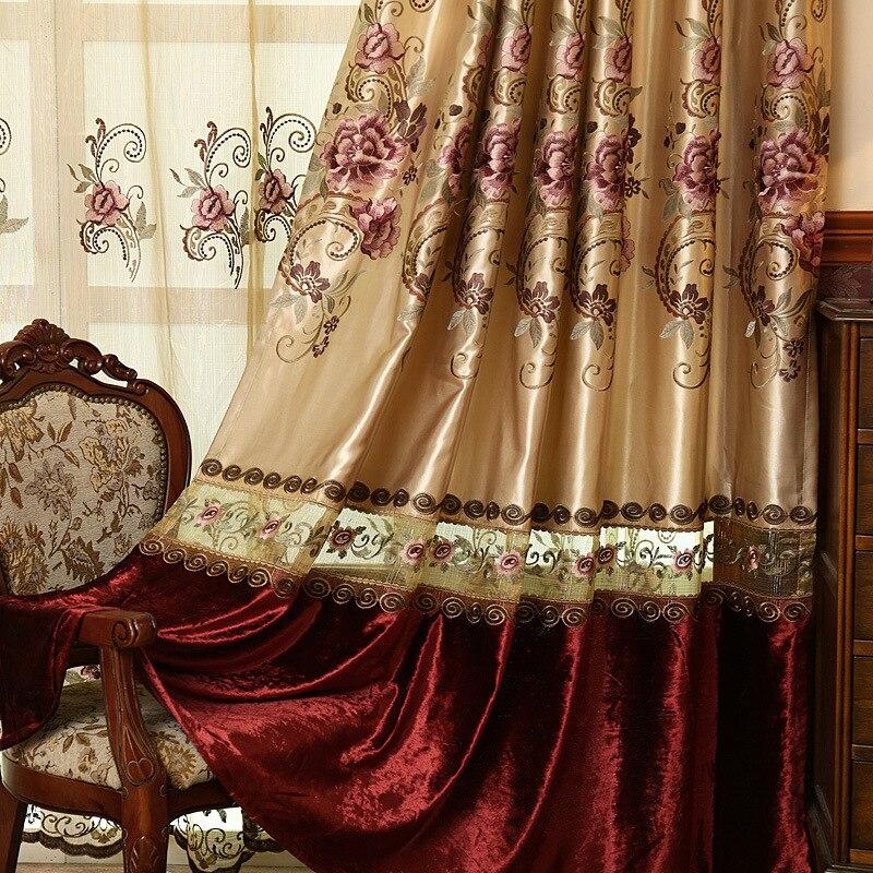 FYFUYOUFY högkvalitativ sammet gardin för vardagsrum Blombroderade - Hemtextil - Foto 2