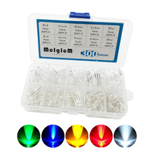 MCIGICM 3mm and 5mm Assorted Clear LED Light Emitting Diodes 5 Colors Pack of 300 electronic diy kit