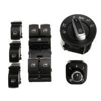6Pcs Window Mirror Headlight Switch Set for VW Passat B6 CC Golf MK6 Jetta MK5