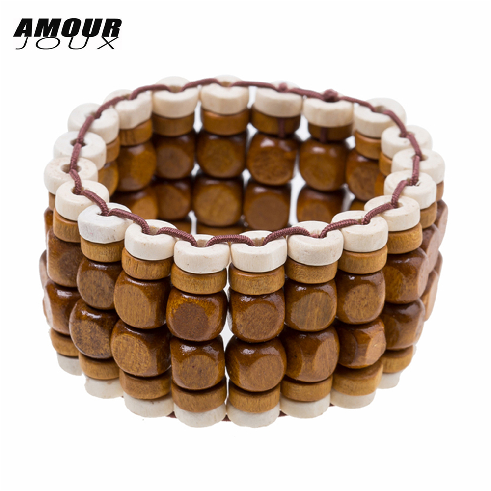 AMOURJOUX Wide Vintage Light/Dark Wood Beaded Chain Bracelet Ethnic Sting Elastic Bracelets For Men Women