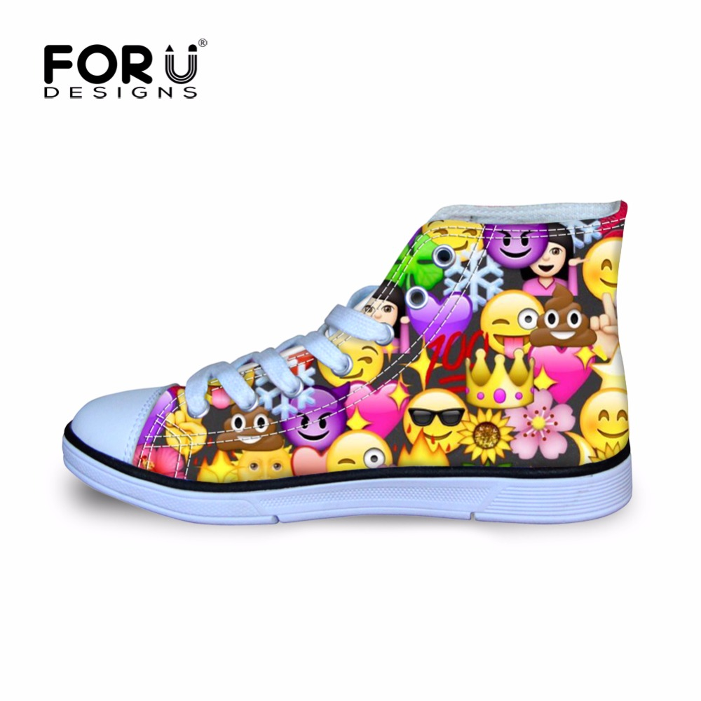 FORUDESIGNS Sneakers for Children Sports Running Shoes Kawaii Funny Emoji Printing High Top Falt Canvas Shoe Kids Football Boots glowing sneakers usb charging shoes lights up colorful led kids luminous sneakers glowing sneakers black led shoes for boys