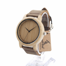 BOBO BIRD L19 Bamboo Wood Watches for Women Brand Designer Leather Band Wooden Dial Face Casual Quartz Watch OEM Dropshipping