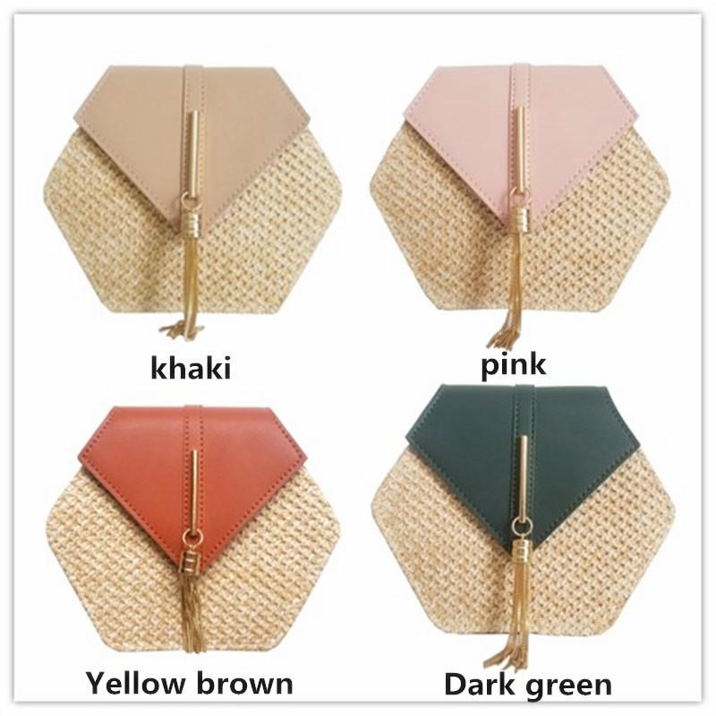 Hexagon Mulit Style Straw+leather Handbag Women Summer Rattan Bag Handmade Woven Beach Circle Bohemia Shoulder Bag New Fashion 25