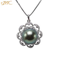 JYX Tahiti Necklace Seawater chain 14K Gold 12mm Peacock Pearls very Round High quality Tahiti pearl necklaces