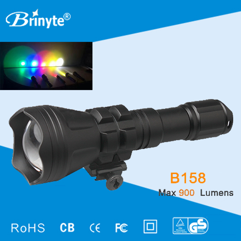 Brinyte B158 LED Hunting Flashlight Zoom Night Hunting Flashlight Cree XM-L2 U4 Waterproof Zoomable Military Torch light securitying red green white hunting led flashlight torch xm l2 u4 led 5 mode zoomable waterproof flash light remote switch