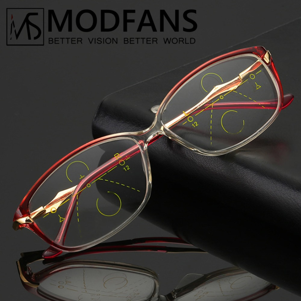 Progressive Reading Glasses Women Multifocal Glasses Transition Lens TR90 Alloy Frame Eyeglasses With Diopter+1+1.5+2+2.5+3+3.5