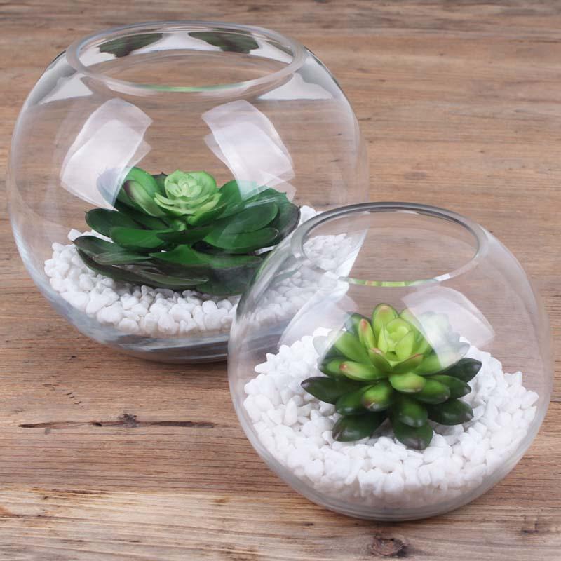 Acuario transparente vidrio esf rico florero florero - Vidrio plastico transparente precio ...