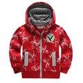 2 - 5 anos crianças roupas meninos jaqueta com zíper de algodão com capuz de lã camisola menino águia impressão Outerwear EagleCoat