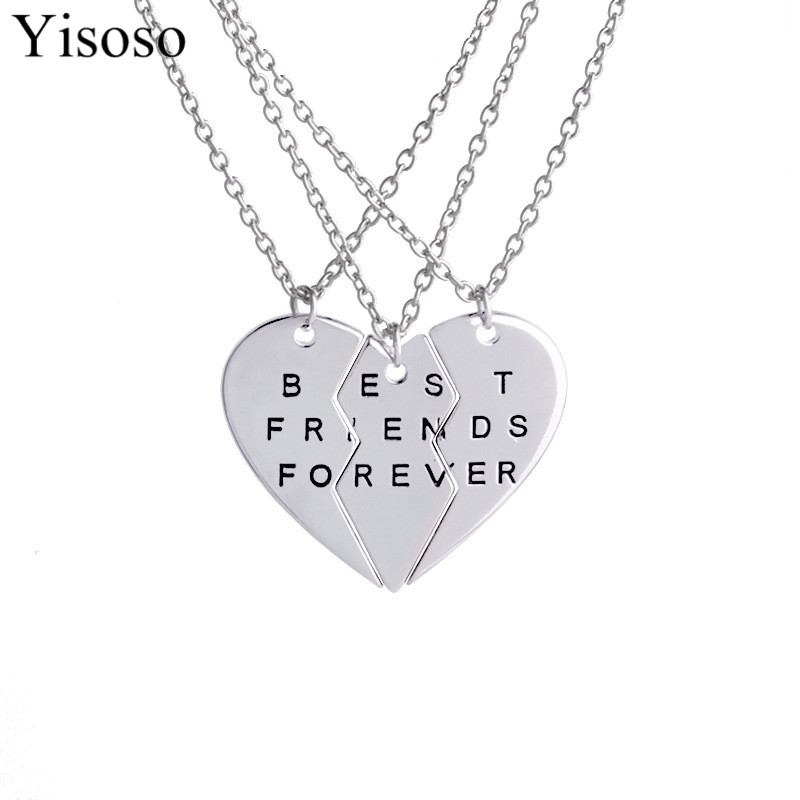 Yisoso coller choker necklace heart pendant pieces broken three best friend forever necklace men women necklace jewelry XL026