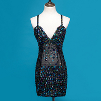 5 Colors Bright Rhinestones Sexy Strap Dress Gauze One Piece Nightclub Bar Luxury Celebrity Sexy Cocktail