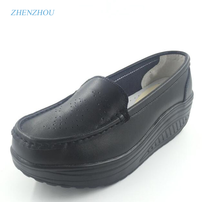 New 2017 spring genuine leather soft outsole work shoes female black swing shoes woman plus size