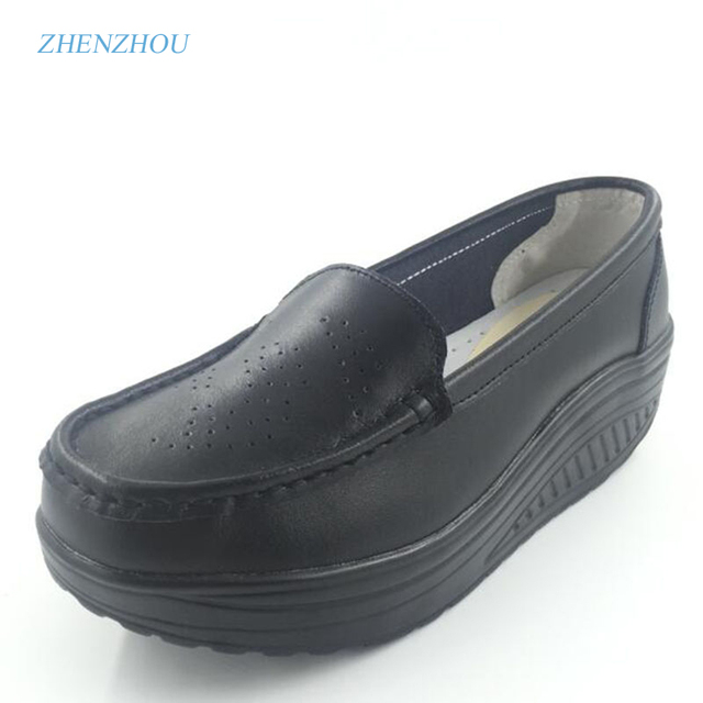 New 2017 spring genuine leather soft outsole work shoes female black swing shoes woman plus size  wedges single female shoes