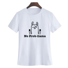 No Prob Cute Funny Llama Printed T-Shirt Black White Summer Tops Cotton T Shirt 2018 Fashion Women Graphic Tee Shirt Femme