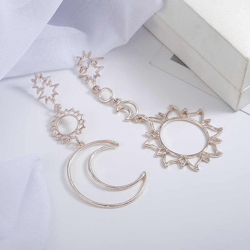 2018 female fashion asymmetrical Earrings hollow Sun Moon Drop Pendant for femelle punk pendiente Ear jewelry gift