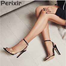 Perixir Fashion Women's Shoes Jelly Sandals Peep Toe Chunky High Heels Transparent PVC Heel Buckle Clear Heel Ankle-Wrap Sandals single sole clear lucite chunky heel sandals women ankle strap perspex high heel sandal plastic transparent dress sandals