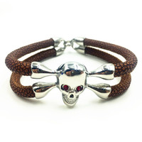 Exclusive Hook Buckles 2 Layers Design Exotic Handmade North Skull Stingray Bracelet