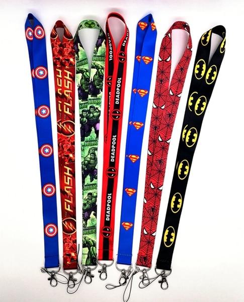 50 stücke/Großhandel lot Cartoon batman superman hulk flash Halskette Band Lanyards Handy PDA Key ID Armband Charms l125-in Schlüsselanhänger aus Schmuck und Accessoires bei  Gruppe 1
