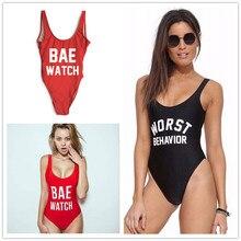 цены Black One Piece Monokini Swimwear Swimsuit BAE WATCH Print Letter Bodysuit Open Backless Sexy Women Beach Bathing Suit Swim Suit