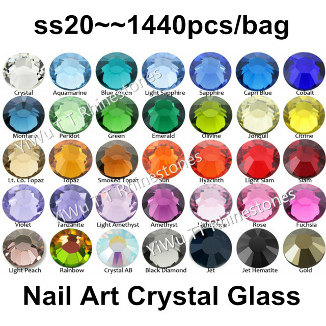 SS20 (4.6-4.8mm) 1440pcslot, Multi Colors 3D Nail Art 1440pcsbag,CrystalGlass Flatback Glue on Non Hotfix Rhinestones