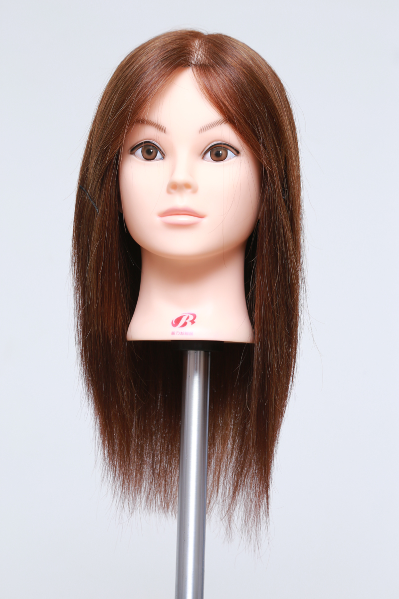 Free Shiping 100% Real Human Hair Doll Head 16″ Hair Hairdressing Mannequin Head Dummy Training Head for Salon School Practice