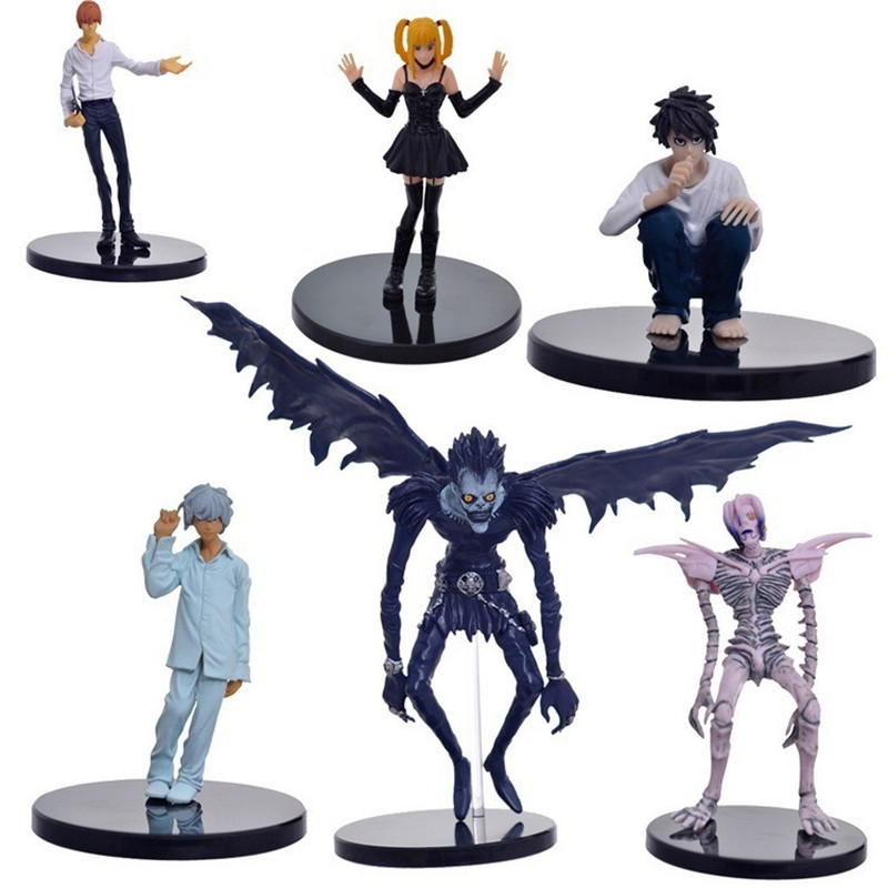 Anime 6pcs/set 6-24cm Death Note PVC Action Figures Jealous Amane Rem Misa Light Yagami Ryuk Model Dolls Toys Brinqudoes Bebe