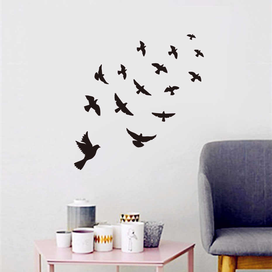 Black Flying Birds Wall sticker For Kids Rooms Bedroom DIY Vinyl Wall Stickers Mural Art Decal Room Home Decor