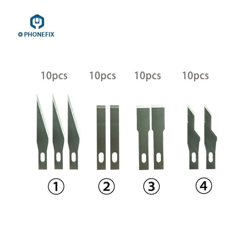 PHONEFIX Motherboard BGA IC Chips Remove Tools Metal Blade Set Engraving Craft Knife Cutter Metal ScalpelPhone PCB Repair Tools