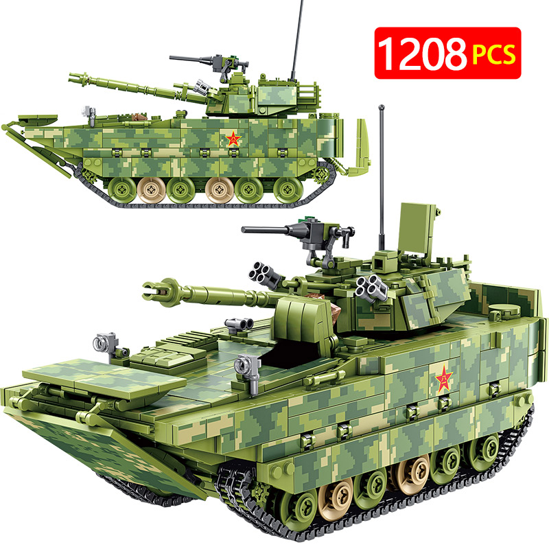Military Amphibious Infantry Fighting Vehicle Tank Building Blocks City Police Figures Bricks Toys Compatible WW2