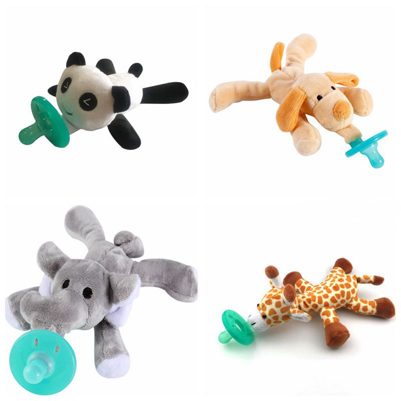 Cute Newborn Baby Kids Toy Dummy Nipple Soother Orthodontic Pacifier Lovely Animal Plush Giraffe/Elephant/panda/Dog Pacifier