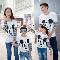 2016 Autumn Family Look Mickey T Shirts Matching Mother Father Baby Daughter And Son Clothes Outfits