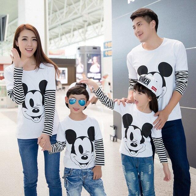 2017 осень семья смотреть микки футболки соответствия мать отец дочь и сына одежды наряды мама и я одежда